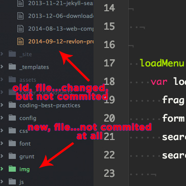 Screenshot of how Atom tracks your current Git branch