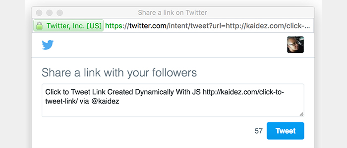Click to Tweet Link Created Dynamically With JS