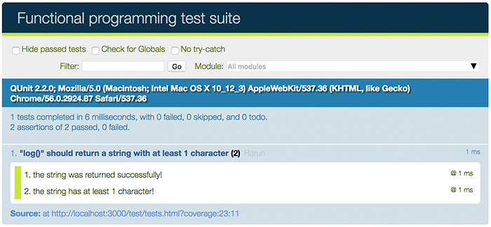 First passing test image for the learn JavaScript unit testing post