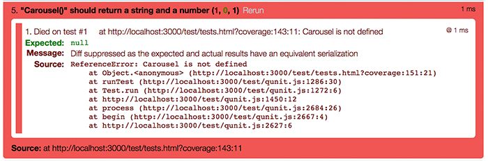 Carousel failing image for the learn JavaScript unit testing post