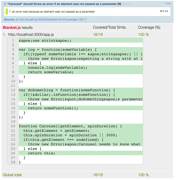 Second carousel code coverage image for the learn JavaScript unit testing post